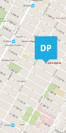 Map to Digital Pulp on East 23rd between 3rd and 2nd Avenues.