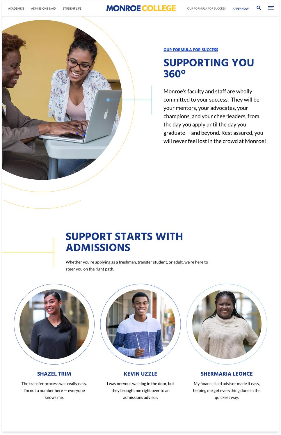 Monroe College Landing Page Example