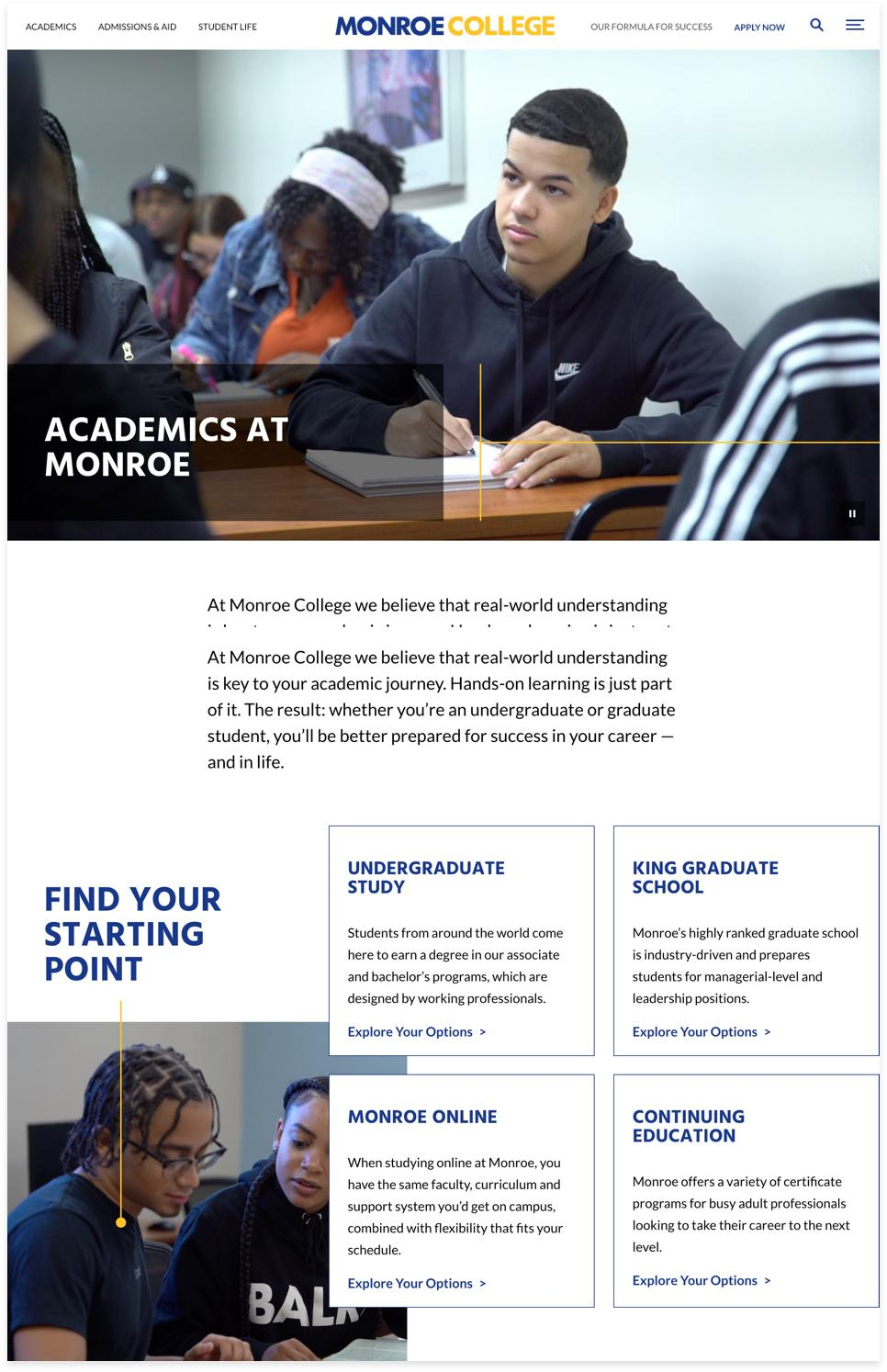 Monroe College Landing Page Example 2