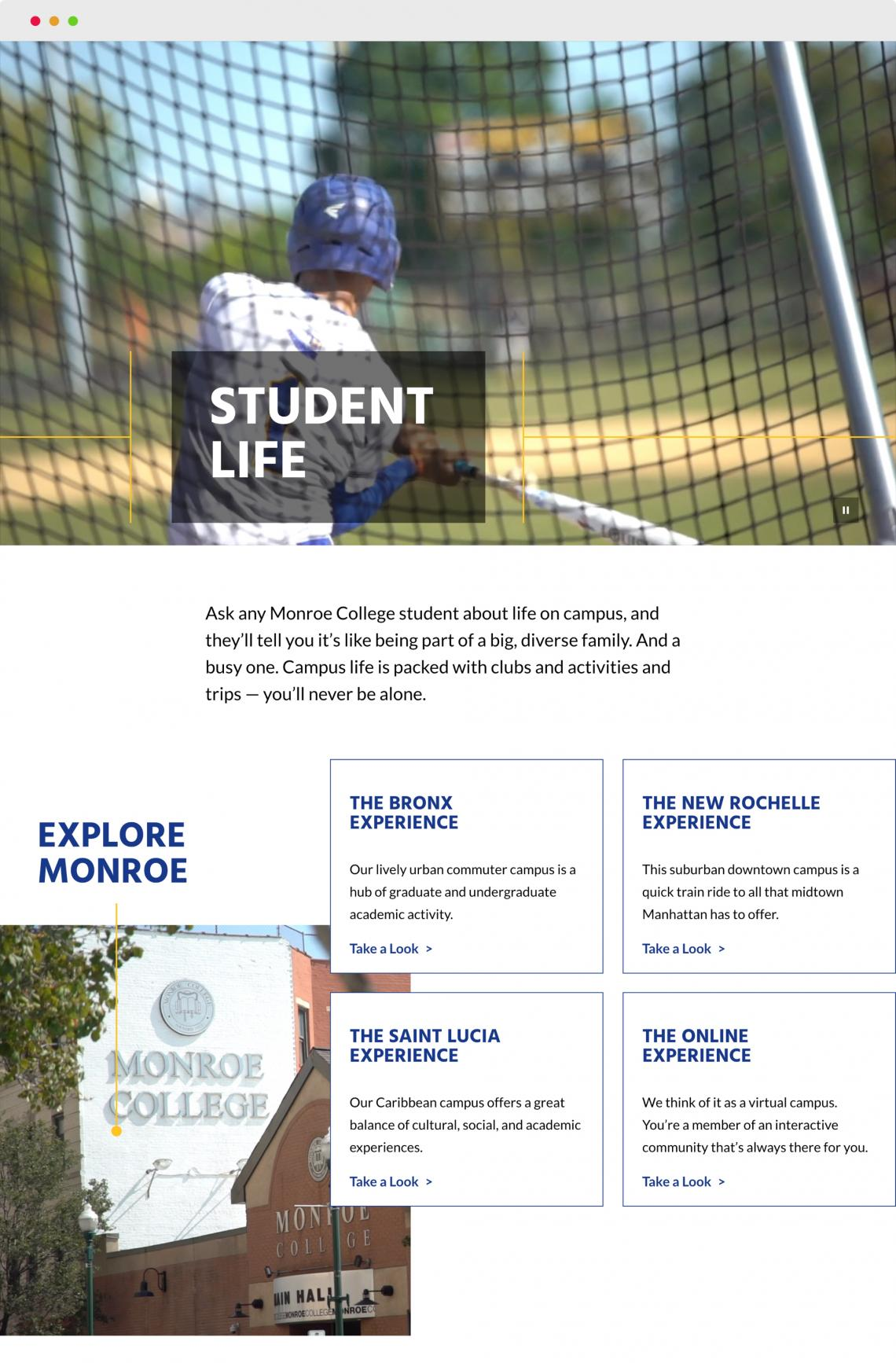 Monroe College Landing Page